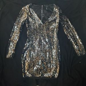 Silver Sequin long sleeve Mini Dress by Forever 21
